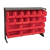 Akro-Mils Low Profile Flr Rack, Shelf w/18 Bins, Gray/Red