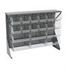 Low Profile Flr Rack, Shelf w/18 Bins, Gray/Clear