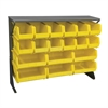 Low Profile Flr Rack, Shelf w/18 Bins, Gray/Yellow