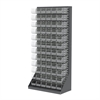 Akro-Mils HD Louvered Flr Rack w/72 AkroBins, Gray/Clear