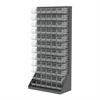 HD Louvered Flr Rack w/72 AkroBins, Gray/Clear