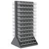 HD Louvered Flr Rack, 2-Sd, w/144 Bins, Gray/Clear