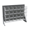 Low Profile Flr Rack, 1-Sd 24 AkroBins, Gray/Clear