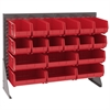 Akro-Mils Low Profile Flr Rack, 1-Sd 18 AkroBins, Gray/Red
