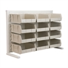 Akro-Mils ReadySpace Bnch Unt, 1-Sided w/12 Bins, White