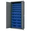 Flush Door Bin Cabinet, w/42 Bins, Gray/Blue