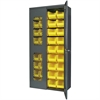 Secure-View Bin Cabinet, w/36 AkroBins, Gray/Yellow
