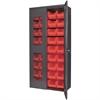 Secure-View Bin Cabinet, w/36 AkroBins, Gray/Red
