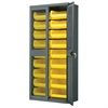 Secure-View Bin Cabinet, w/18 AkroBins, Gray/Yellow