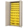 Akro-Mils Flush Door Bin Cabinet,  w/42 AkroBins, Putty/Yellow