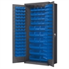 Akro-Mils Steel Door Bin Cabinet, 138 Bins, Gray/Blue