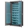 Steel Door Bin Cabinet, 138 Bins, Gray/Lt. Blue