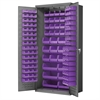 Akro-Mils Steel Door Bin Cabinet, 138 Bins, Gray/Purple