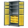 Akro-Mils AkroBin Cabinet 3 Shelves w/102 AkroBins, Gray/Yellow