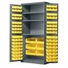 AkroBin Cabinet 3 Shelves w/102 AkroBins, Gray/Yellow