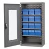 Akro-Mils Quick-View Door Mini Cabinet 12 Drawers, Gray/Blue