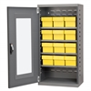 Quick-View Door Mini Cabinet 12 Drawers, Gray/Yellow