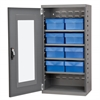 Quick-View Door Mini Cabinet, 8 Drawers, Gray/Blue