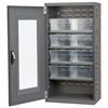 Quick-View Door Mini Cabinet, 8 Drawers, Gray/Clear