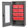 Quick-View Door Mini Cabinet, 8 Drawers, Gray/Red