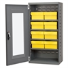 Quick-View Door Mini Cabinet, 8 Drawers, Gray/Yellow