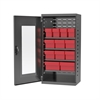 Quick-View Door Mini Cabinet 12 Drawers, Gray/Red