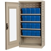 Quick-View Door Mini Cabinet 16 Drawers, Putty/Blue