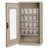 Quick-View Door Mini Cabinet 16 Drawers, Putty/Clear