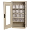 Quick-View Door Mini Cabinet 12 Drawers, Putty/Clear