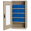 Quick-View Door Mini Cabinet, 8 Drawers, Putty/Blue