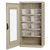 Quick-View Door Mini Cabinet, 8 Drawers, Putty/Clear