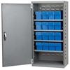 Akro-Mils Steel Door Mini Cabinet,  16 Drawers, Gray/Blue