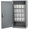 Steel Door Mini Cabinet, 16 Drawers, Gray/Clear