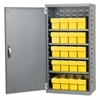 Steel Door Mini Cabinet, 16 Drawers, Gray/Yellow