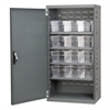 Steel Door Mini Cabinet, 12 Drawers, Gray/Clear