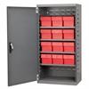 Akro-Mils Steel Door Mini Cabinet,  12 Drawers, Gray/Red