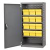Akro-Mils Steel Door Mini Cabinet,  12 Drawers, Gray/Yellow
