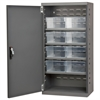 Steel Door Mini Cabinet, 8 Drawers, Gray/Clear