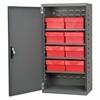 Steel Door Mini Cabinet, 8 Drawers, Gray/Red