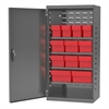 Akro-Mils Steel Door Mini Cabinet,  12 Drawers, Gray/Red