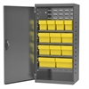 Akro-Mils Steel Door Mini Cabinet,  12 Drawers, Gray/Yellow