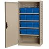 Steel Door Mini Cabinet, 12 Drawers, Putty/Blue