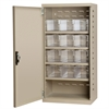 Steel Door Mini Cabinet, 12 Drawers, Putty/Clear