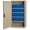 Steel Door Mini Cabinet, 8 Drawers, Putty/Blue