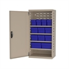 Steel Door Mini Cabinet, 12 Drawers, Putty/Blue