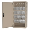 Akro-Mils Steel Door Mini Cabinet,  12 Drawers, Putty/Clear