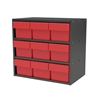 Modular Cabinet, 18x11x16, 9 Drawers, Gray/Red
