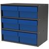 Akro-Mils Modular Cabinet, 18x11x16, 6 Drawers, Gray/Blue