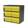Akro-Mils Modular Cabinet, 18x11x16, 6 Drawers, Gray/Yellow