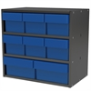 Modular Cabinet, 18x11x16, 8 Drawers, Gray/Blue